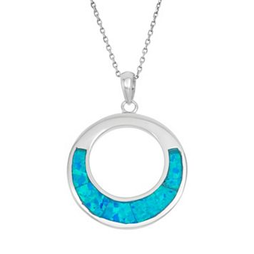 Lab-Created Blue Opal Sterling Silver Circle Pendant Necklace