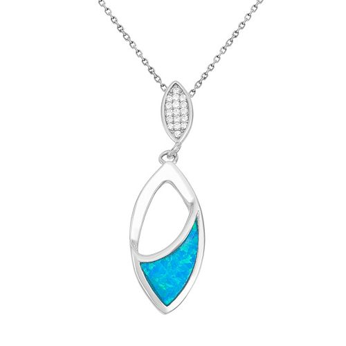 Lab-Created Blue Opal & Cubic Zirconia Sterling Silver Marquise Pendant Necklace