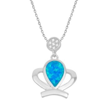 Lab-Created Blue Opal & Cubic Zirconia Sterling Silver Crown Pendant Necklace