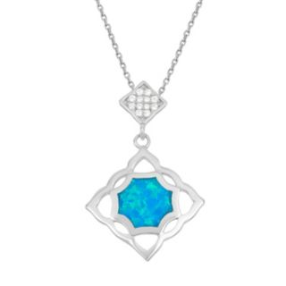 Lab-Created Blue Opal & Cubic Zirconia Sterling Silver Openwork Pendant Necklace