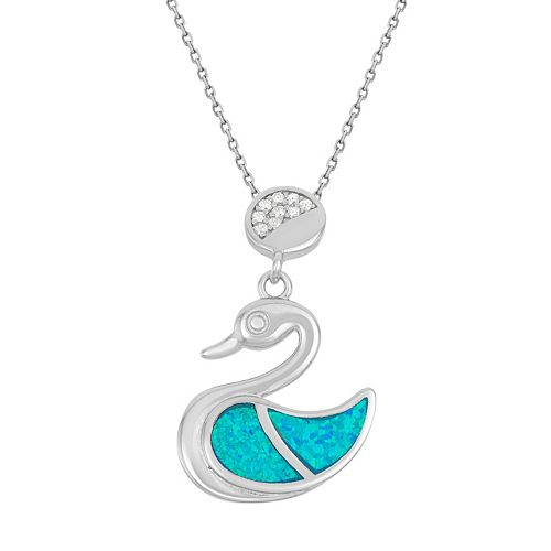 Lab-Created Blue Opal & Cubic Zirconia Sterling Silver Swan Pendant Necklace