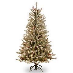 4.5-ft. Pre-Lit Snow, Berry & Pinecone Dunhill Slim Fir Artificial Christmas Tree