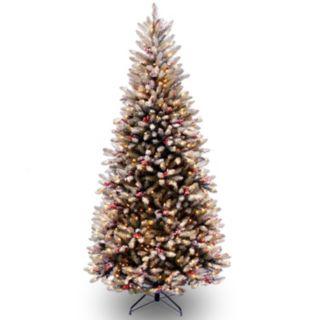 7.5-ft. Pre-Lit Snow, Berry & Pinecone Dunhill Fir Slim Artificial Christmas Tree