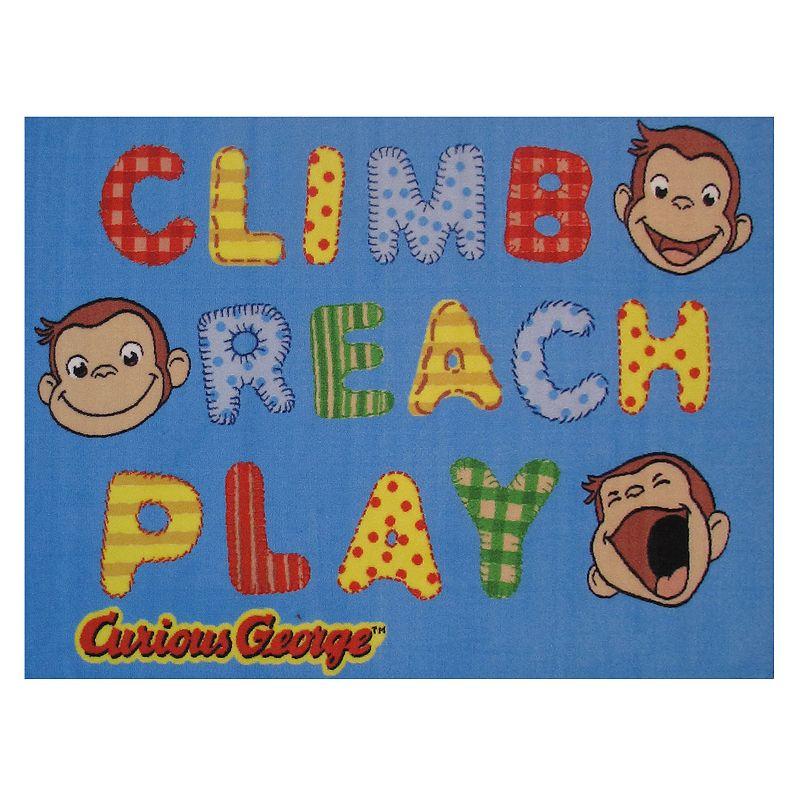 Fun Rugs Curious George Climb, Reach, Play Rug, Blue