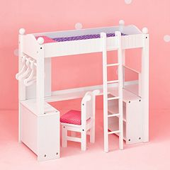 Olivia's Little World Little Princess Doll Furniture 18-in. College Dorm Double Bunk Desk by