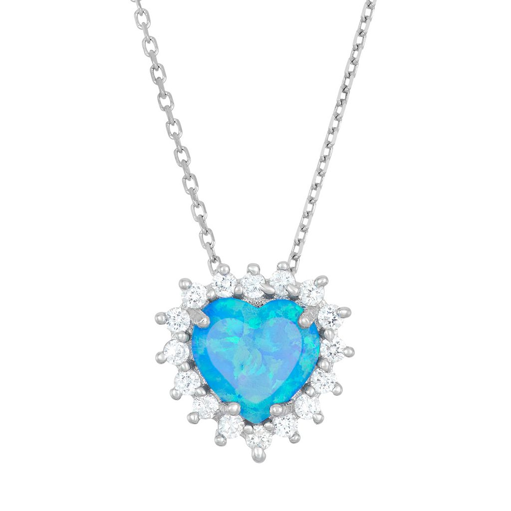 Lab-Created Blue Opal & Cubic Zirconia Sterling Silver Heart Halo Pendant Necklace