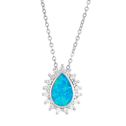 Lab-Created Blue Opal & Cubic Zirconia Sterling Silver Teardrop Halo Pendant Necklace