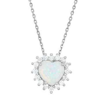 Lab-Created Opal & Cubic Zirconia Sterling Silver Heart Halo Pendant Necklace