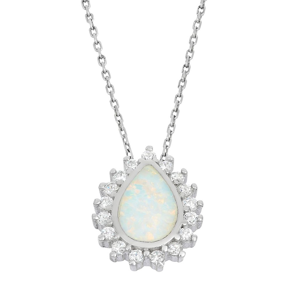 Lab-Created Opal & Cubic Zirconia Sterling Silver Teardrop Halo Pendant Necklace