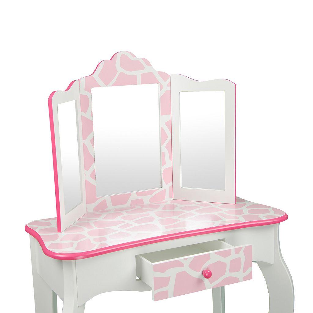 Teamson Kids Fashion Prints Giraffe Mirror Vanity Table & Stool Set