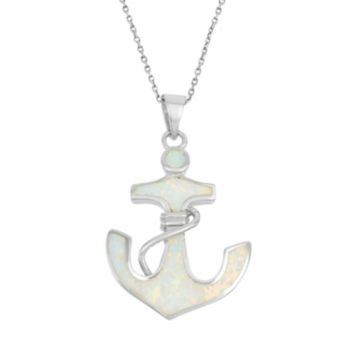 Lab-Created Opal & Cubic Zirconia Sterling Silver Anchor Pendant Necklace