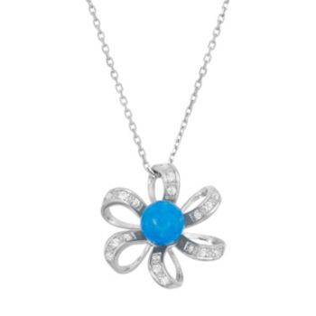 Lab-Created Blue Opal & Cubic Zirconia Sterling Silver Flower Pendant Necklace