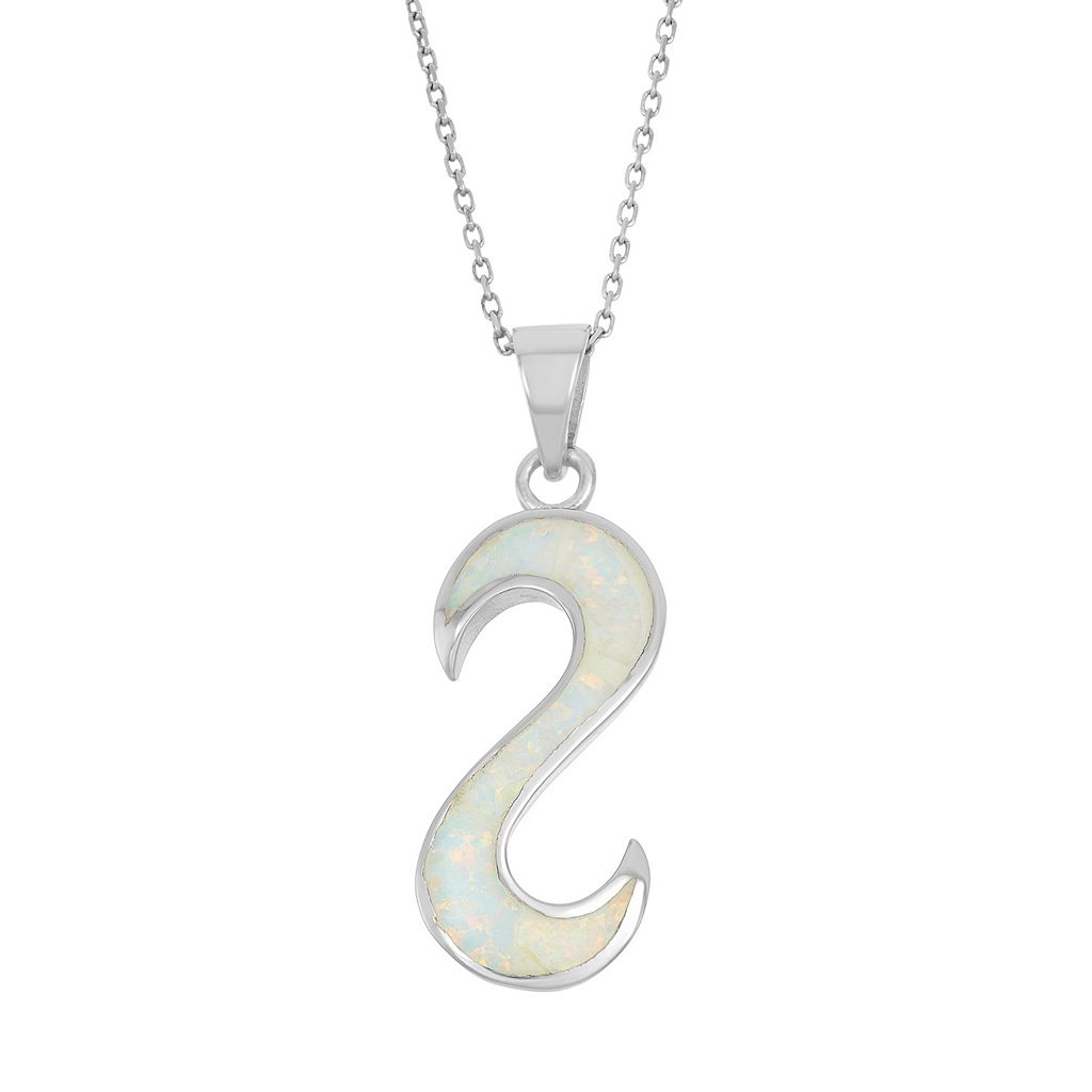 Lab-Created Opal Sterling Silver Reverse S Pendant Necklace