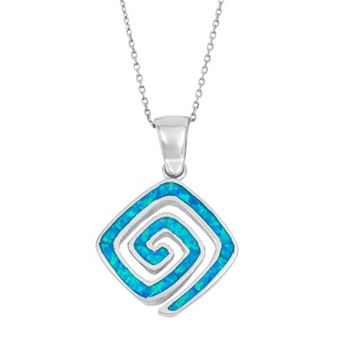 Lab created blue opal sterling silver greek key pendant necklace aloadofball Images