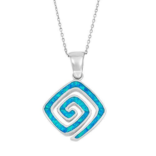Lab-Created Blue Opal Sterling Silver Greek Key Pendant Necklace