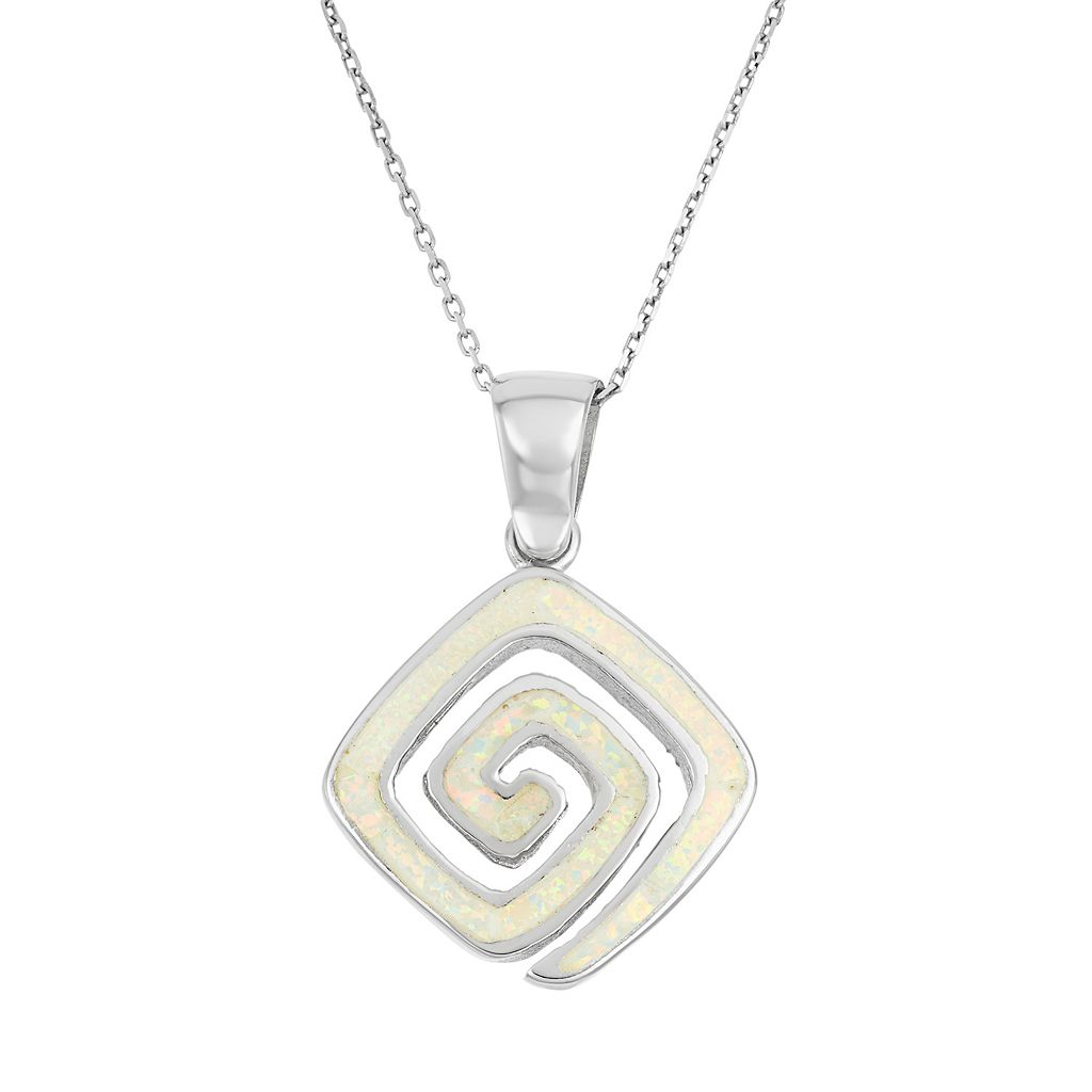 Lab-Created Opal Sterling Silver Greek Key Pendant Necklace