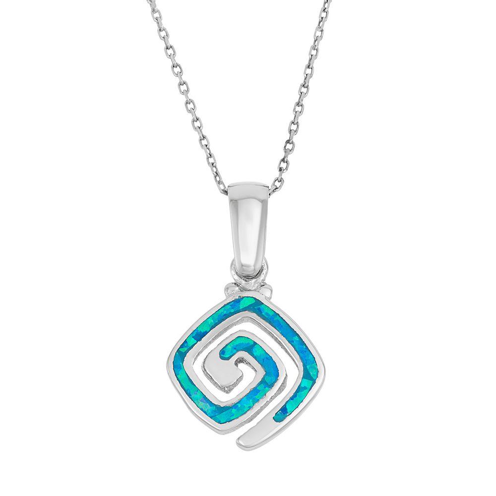 Lab created blue opal sterling silver greek key pendant necklace aloadofball Choice Image