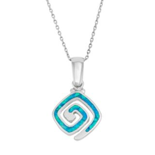 Lab-Created Blue Opal Sterling Silver Greek Key Pendant Necklace