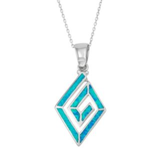 Lab-Created Blue Opal Sterling Silver Swirl Marquise Pendant Necklace