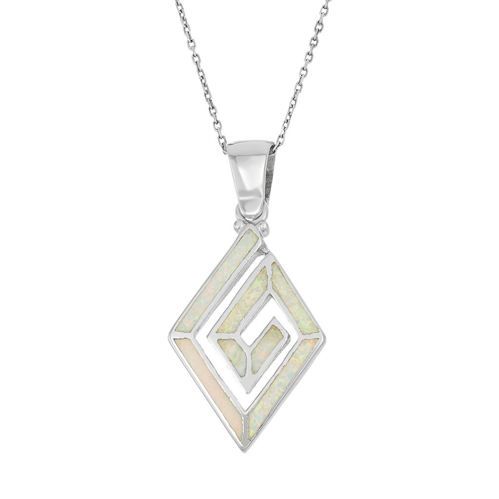 Lab-Created Opal Sterling Silver Swirl Marquise Pendant Necklace