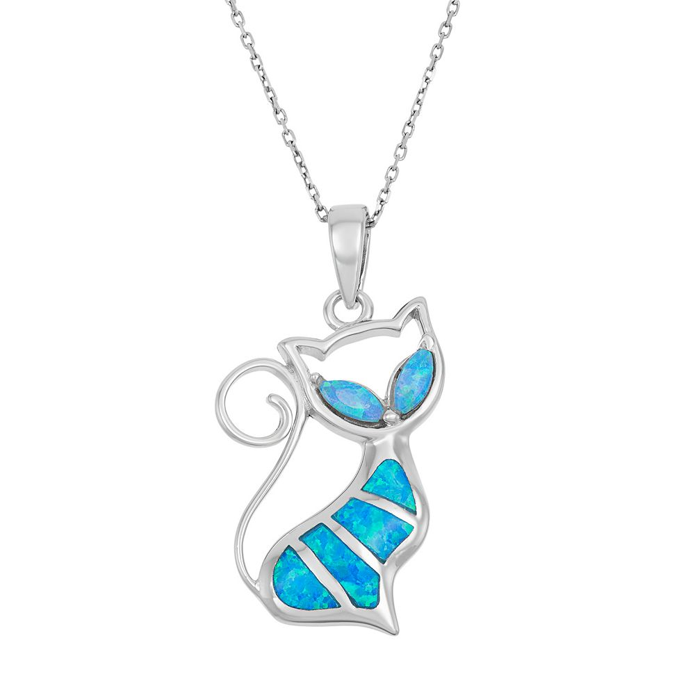 Lab created blue opal sterling silver cat pendant necklace aloadofball Images