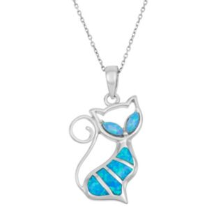 Lab-Created Blue Opal Sterling Silver Cat Pendant Necklace