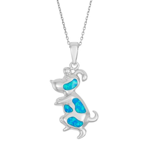 Lab-Created Blue Opal Sterling Silver Dog Pendant Necklace