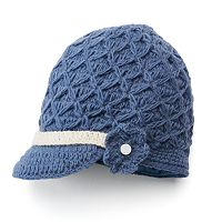 SIJJL Women's Crochet Brim Wool Beanie