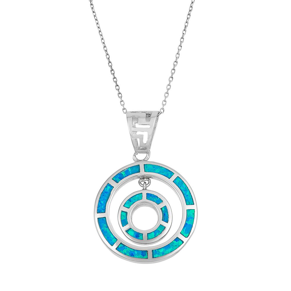 Lab created blue opal sterling silver double circle pendant necklace aloadofball Choice Image
