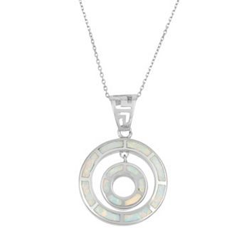 Lab created opal sterling silver double circle pendant necklace aloadofball Choice Image