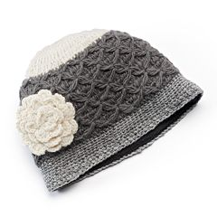 SIJJL Women's Crochet Cable-Knit Floral Wool Beanie