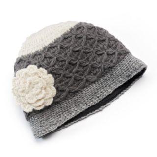 SIJJL Women's Crochet Cable-Knit Floral Wool Beanie