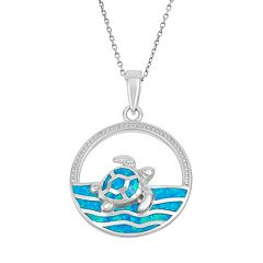 Lab-Created Blue Opal Sterling Silver Turtle & Sea Pendant Necklace