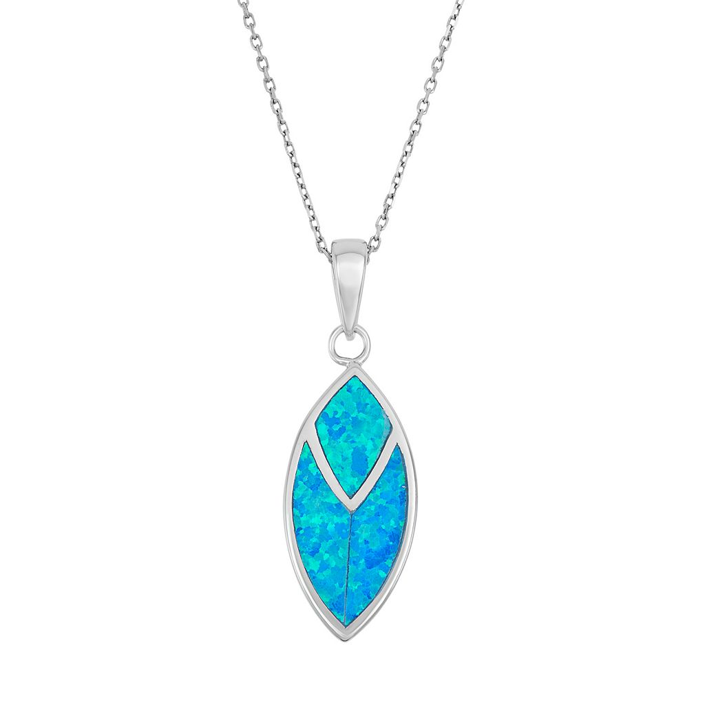 Lab-Created Blue Opal Sterling Silver Marquise Pendant Necklace