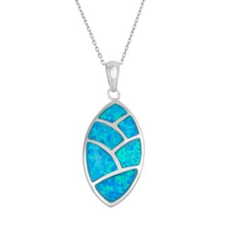 Lab-Created Blue Opal Sterling Silver Mosaic Marquise Pendant Necklace