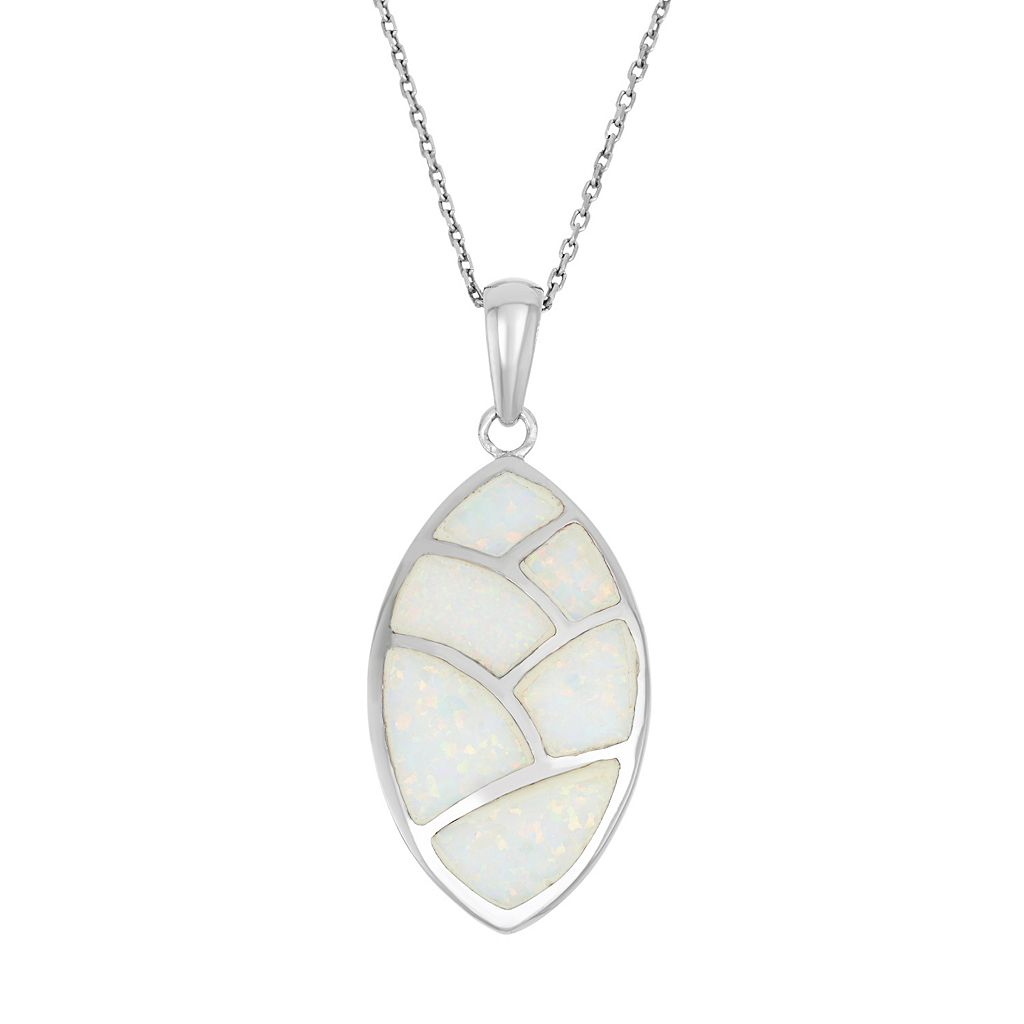 Lab-Created Opal Sterling Silver Mosaic Marquise Pendant Necklace