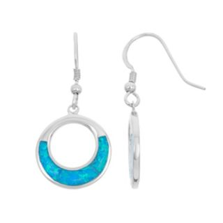 Lab-Created Blue Opal Sterling Silver Circle Drop Earrings