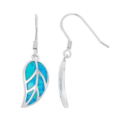 Lab-Created Blue Opal Sterling Silver Leaf Drop Earrings