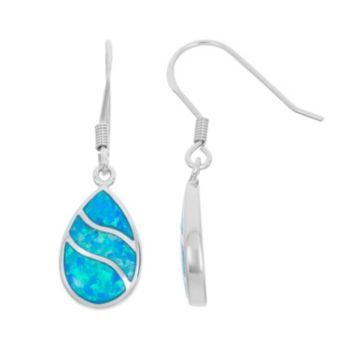 Lab-Created Blue Opal Sterling Silver Teardrop Earrings