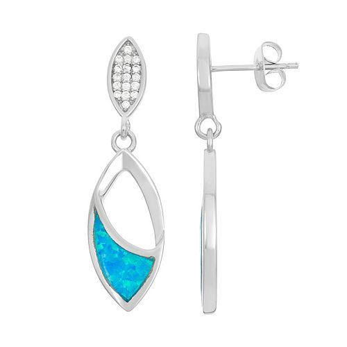 Lab-Created Blue Opal & Cubic Zirconia Sterling Silver Marquise Drop Earrings