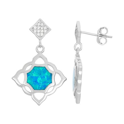 Lab-Created Blue Opal & Cubic Zirconia Sterling Silver Openwork Drop Earrings