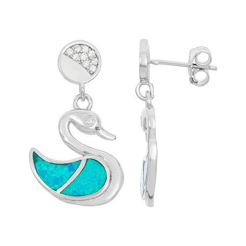 Lab-Created Blue Opal & Cubic Zirconia Sterling Silver Swan Drop Earrings