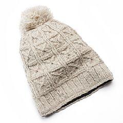 SIJJL Women's Pom-Pom Studded Slouchy Wool Beanie