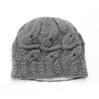 SIJJL Women's Beaded Cable-Knit Wool Beanie