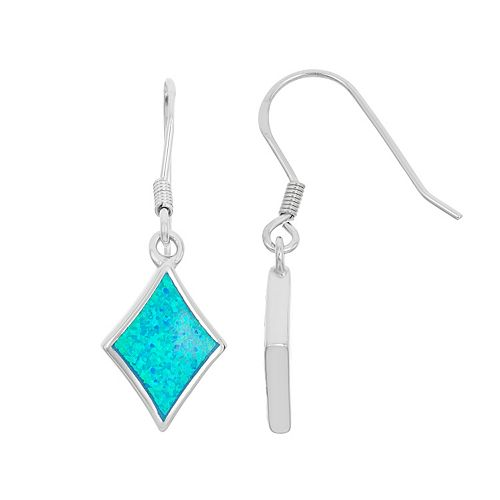 Lab-Created Blue Opal Sterling Silver Kite Drop Earrings