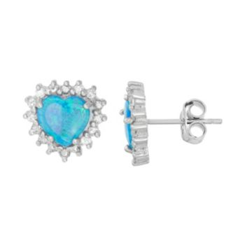 Lab-Created Blue Opal & Cubic Zirconia Sterling Silver Heart Halo Stud Earrings