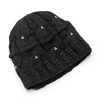 SIJJL Women's Rhinestone Cable-Knit Wool Beanie