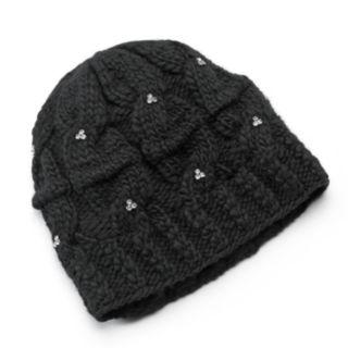 SIJJL Women's Rhinestone Cable-Knit Wool Beanie
