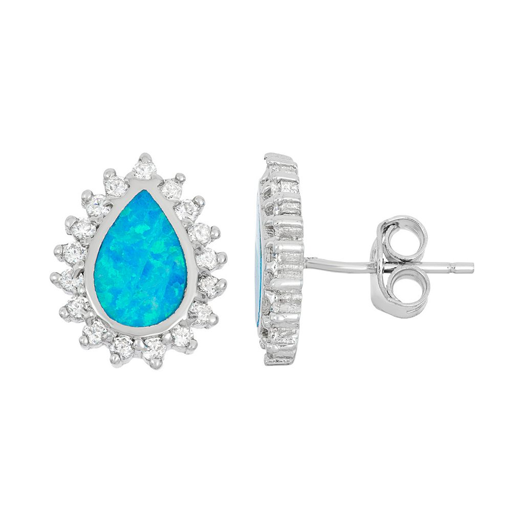 Lab-Created Blue Opal & Cubic Zirconia Sterling Silver Teardrop Halo Stud Earrings