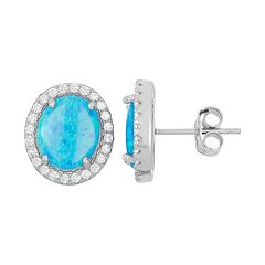 Lab-Created Blue Opal & Cubic Zirconia Sterling Silver Oval Halo Stud Earrings